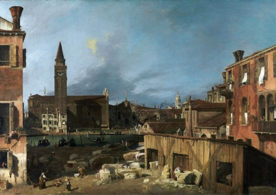 Canaletto, Giovanni Antonio Canal: The Stonemason's Yard. Fine Art Print/Poster. Sizes: A4/A3/A2/A1 (003451)